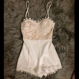 White & cream lace romper